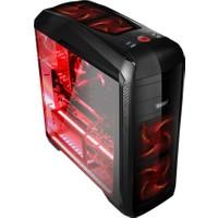 PowerBoost Deluxe Serisi VK-G1009B 2xUSB 3.0, 2xUSB 2.0, 3x12cm Kırmızı Led Fanlı, Fan Kontrolcülü, Şeffaf Yan Panelli ATX Kasa JBST-VKG1009B
