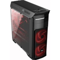 Power Boost Deluxe Serisi VK-G1010B 1xUSB 3.0, 2xUSB 2.0, 3x12cm Kırmızı Led Fanlı, Şeffaf Yan Panelli ATX Kasa JBST-VKG1010B