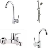 Erce Delta Evye + Lavabo + Banyo Bataryası Ve Sürgülü Duş Takımı