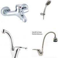 Erce Mix Spiralli Evye + Kuğu Lavabo + Banyo Bataryası Ve Duş Takımı