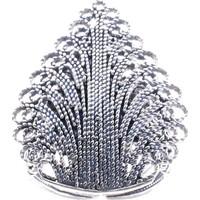 Akyüz Gümüş Damla Motifli Telkari Gümüş Yüzük