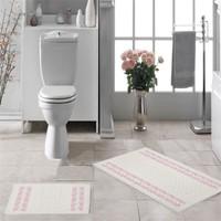 Zeria Home Bordür Pamuklu Klozet Takımı Banyo Paspası Pembe