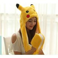 Pokemon Pikachu Bere Şapka Eldiven Peluş 60 cm