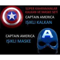 Avengers Süper Kahramanlar Kaptan Amerika Işıklı Kalkan ve Maske Seti