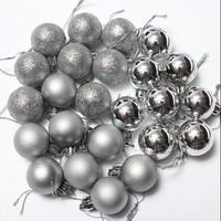 Noel Yılbaşı 2017 Noel ağacı dekor topu 24 lü set Gümüş Rengi