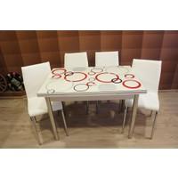 Mutfak Cam Masa Takımı Yandan Açılır Büyük Halka Desen (4 Suni Deri Beyaz Sandalyeli)