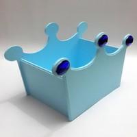 Artez Tasarım Ahşap El Boyaması Mavi Taç