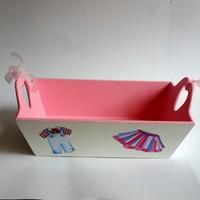 Artez Tasarım Ahşap El Boyaması Bebek Şekeri Sepeti