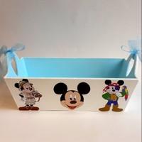 Artez Tasarım Ahşap El Boyaması Bebek Şekeri Sepeti Miki Mouse