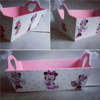 Artez Tasarım İsme Özel Ahşap El Boyaması Bebek Şekeri Sepeti Miki Mouse