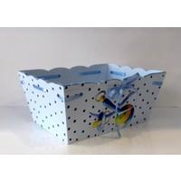 Artez Tasarım İsme Özel Ahşap El Boyaması Bebek Şekeri Sepeti Puantiyeli Model