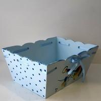 Artez Tasarım İsme Özel Ahşap El Boyaması Bebek Şekeri Sepeti Puantiyeli Modeli
