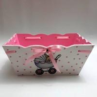 Artez Tasarım İsme Özel Ahşap El Boyaması Bebek Şekeri Sepeti Puset Modeli