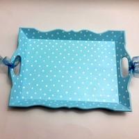 Artez Tasarım İsme Özel Mavi Puantiyeli Ahşap Bebek Tepsisi
