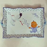 Artez Tasarım İsme Özel Ahşap Bebek Tepsisi Leylekli Model