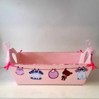 Artez Tasarım İsme Özel Bebek Şekeri Sepeti Pembe Askılı Modeli