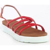 Markazen Hasır Desenli Sandalet - Kırmızı
