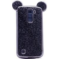 Case 4U LG K10 Mickey Simli ve Taşlı Kulaklı Kılıf Siyah