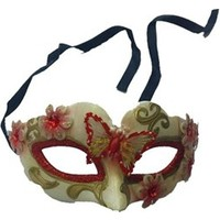 Partistok Venedik Parti Maskesi Kırmızı Kelebekli