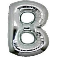 Partistok B Harf Folyo Balon Gümüş