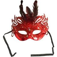 Partistok Tüylü Balo Maskesi Kırmızı
