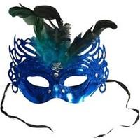 Partistok Tüylü Balo Maskesi Mavi