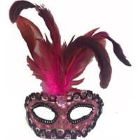 Partistok Tüylü Venedik Parti Maskesi Pembe