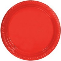 Partistok Kırmızı Plastik Parti Tabağı 26 Cm 8 Adet