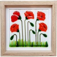 Cool Glass Design Kırmızı Gelincikler Cam Duvar Süsü 25 x 25 cm El Yapımı