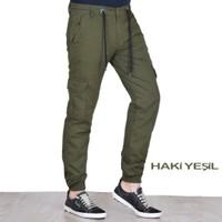 Fomino Erkek Kargo Pantolon Lastikli - Haki Yeşil