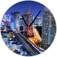 Fotografyabaskı Gece Şehir Tokyo 20 Cm Yuvarlak Hdf Saat Baskı