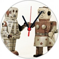 Fotografyabaskı Robotlar 20 Cm Yuvarlak Hdf Saat Baskı