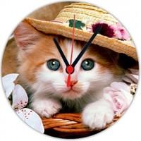 Fotografyabaskı Şapkalı Yavru Kedi 20 Cm Yuvarlak Hdf Saat Baskı