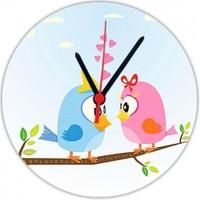 Fotografyabaskı Aşık Kuşlar 20 Cm Yuvarlak Hdf Saat Baskı