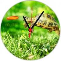 Fotografyabaskı Zıplayan Ve Firizbi Yakalayan Kaplumbağa 20 Cm Yuvarlak Hdf Saat Baskı