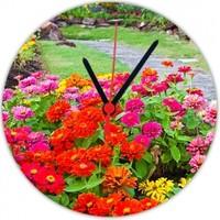 Fotografyabaskı Bahçede Renkli Çiçekler 20 Cm Yuvarlak Hdf Saat Baskı