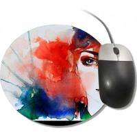Fotografyabaskı Moda Konulu Kadın Portre Yuvarlak Mouse Pad