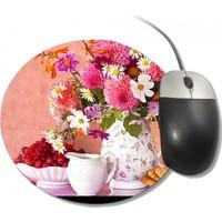 Fotografyabaskı Vazoda Sonbahar Çiçekleri Yuvarlak Mouse Pad