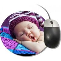 Fotografyabaskı Şapkası İle Uyuyan Şirin Bebek Yuvarlak Mouse Pad