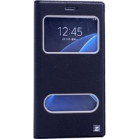 Kılıfshop Samsung Galaxy C7 Pencereli Kapaklı Kılıf