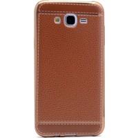 Kılıfshop Samsung Galaxy On7 Deri Görünüm Silikon Kılıf