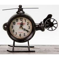 Vintage Metal Masaüstü Saat \ Helikopter Görünümlü - Siyah 23X7X18 LN957-3
