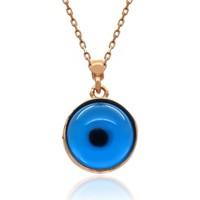 İndigo Takı Mavi Nazar Göz Gümüş Kolye