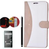 Gpack Sony Xperia Z1 Kılıf Kartvizitli Cüzdan Gold + Kalem + Kırılmaz Cam