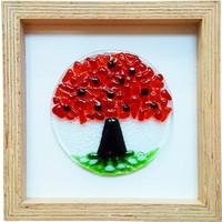 Cool Glass Design Kırmızı Hayat Ağacı Cam Duvar Süsü 25 X 25 Cm El Yapımı