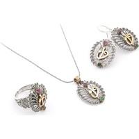 Akyüz Gümüş Zümrüt Ve Yakut Taşlı Telkari Gümüş Set