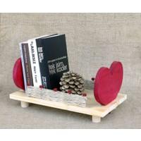 Luckywoodstore Kalp Tasarımlı Kitaplık - Sunum Tepsisi