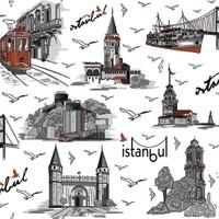 İstanbul Desenli Duvar Kağıdı