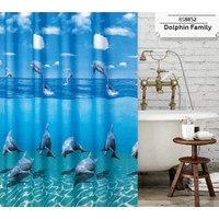 Prado Dolphin Family Banyo Perdesi, Duş Perdesi 180X200Cm