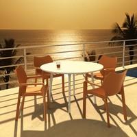 Siesta Contract Diva Yuvarlak Masa Takımı - Yeşil Sandalye - Balkon Bahçe Mobilyası